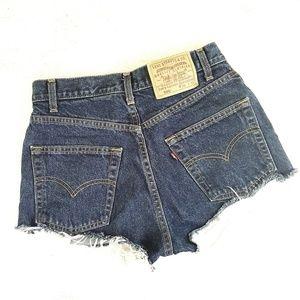 Levi's // 505 Cut Off High-Rise Dark Denim Shorts